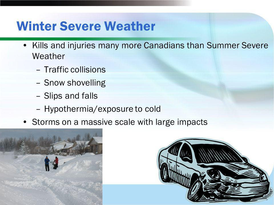 Winter Severe Weather Kills and injuries many more Canadians than Summer Severe Weather. Traffic collisions.