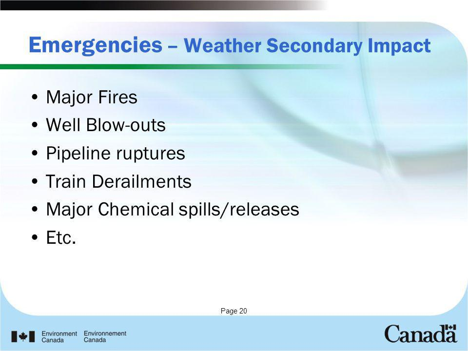 Emergencies – Weather Secondary Impact