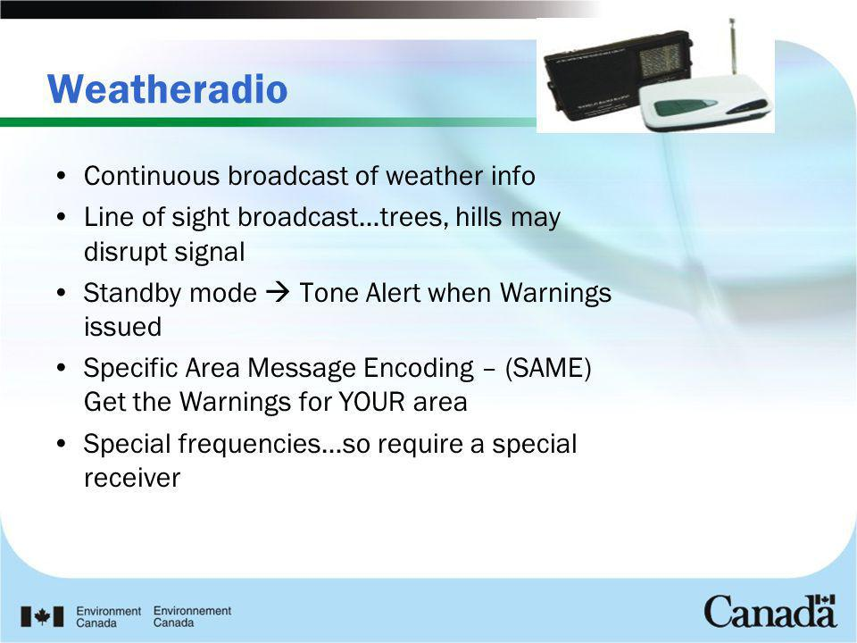 Weatheradio Continuous broadcast of weather info