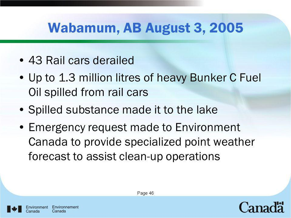 Wabamum, AB August 3, 2005 43 Rail cars derailed