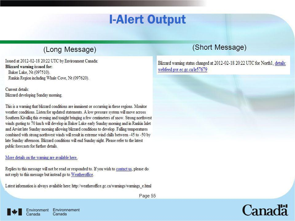 I-Alert Output (Short Message) (Long Message)