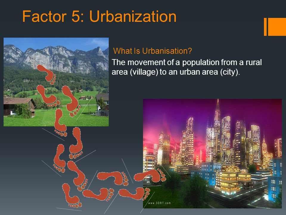 Factor 5: Urbanization What Is Urbanisation