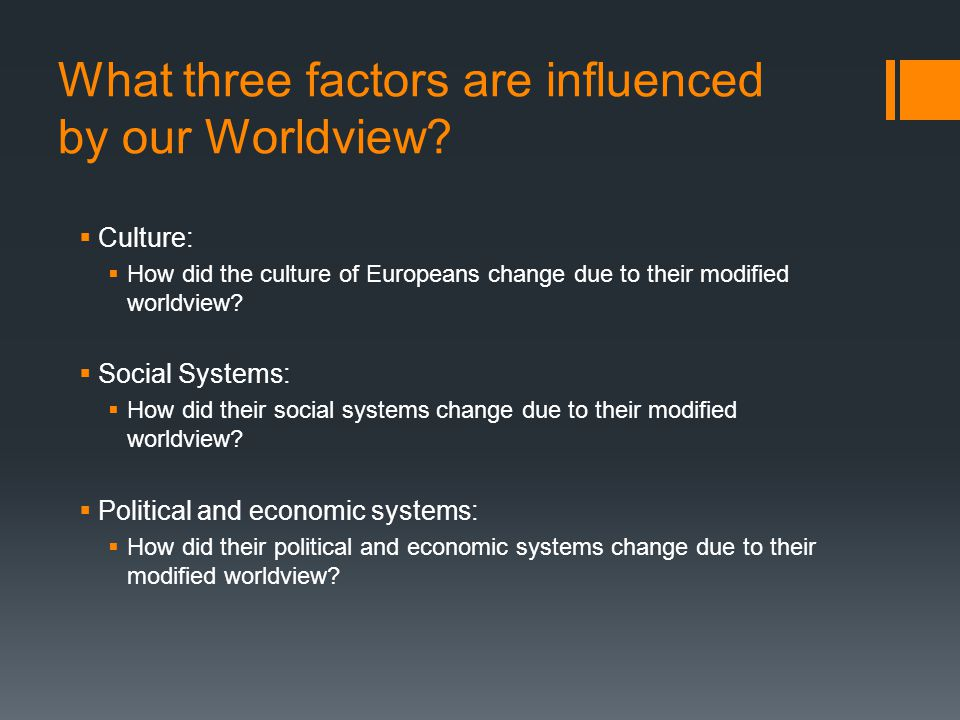 What three factors are influenced by our Worldview