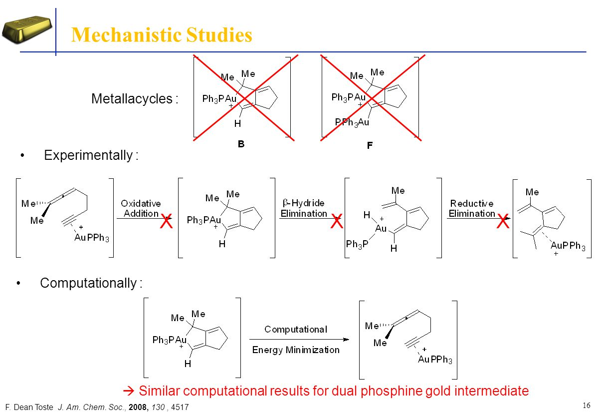  Similar computational results for dual phosphine gold intermediate