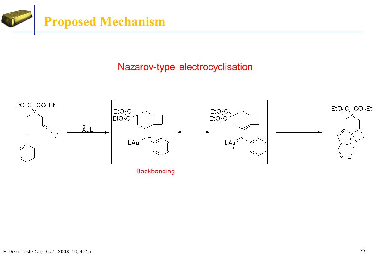 Proposed Mechanism Nazarov-type electrocyclisation Backbonding