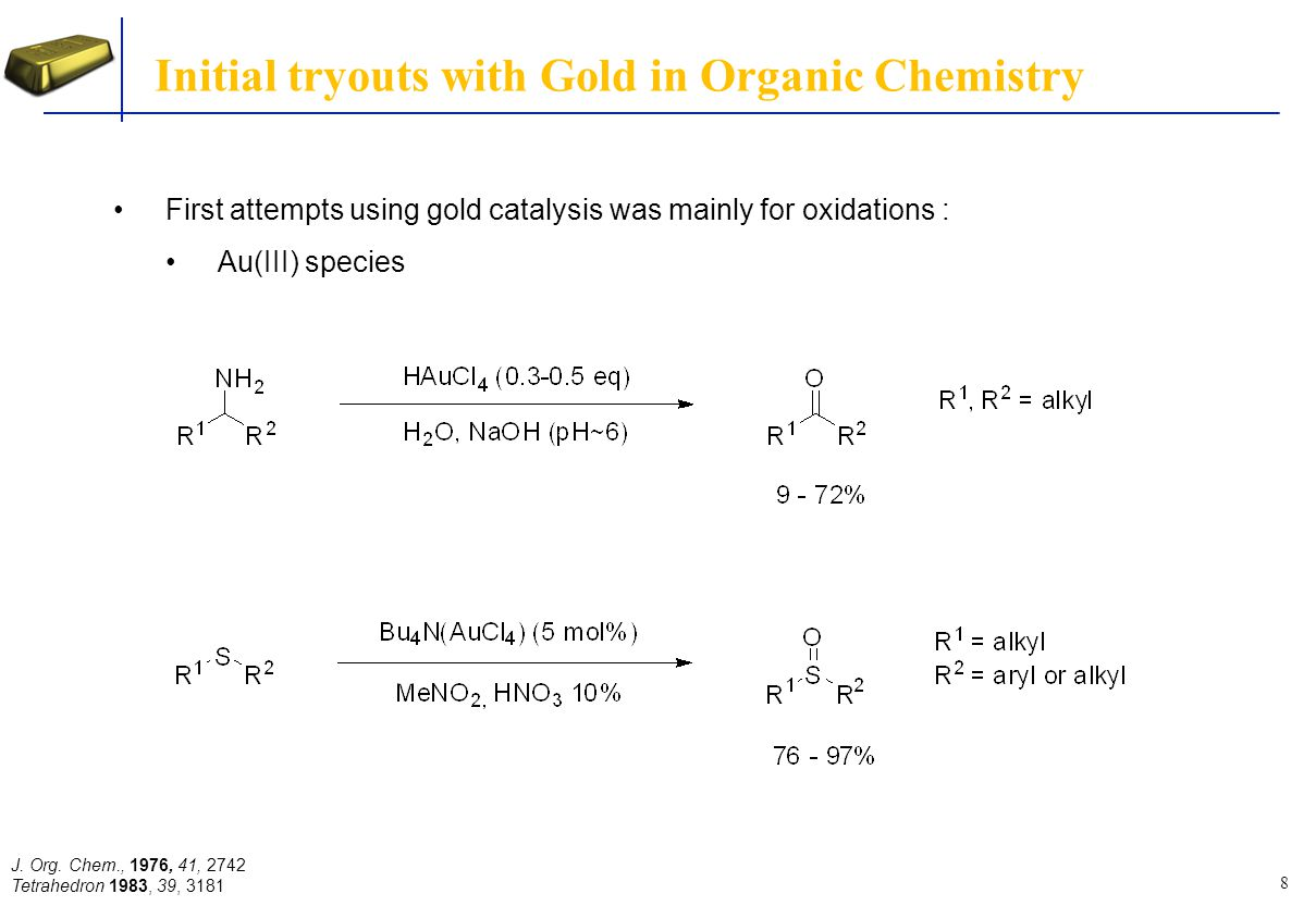 Initial tryouts with Gold in Organic Chemistry