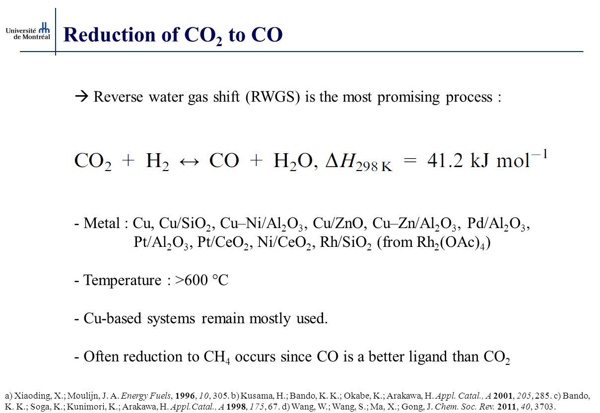 Reduction of CO2 to CO  Reverse water gas shift (RWGS) is the most promising process :
