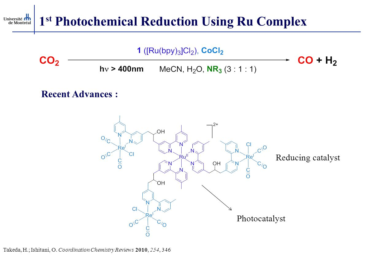 1st Photochemical Reduction Using Ru Complex