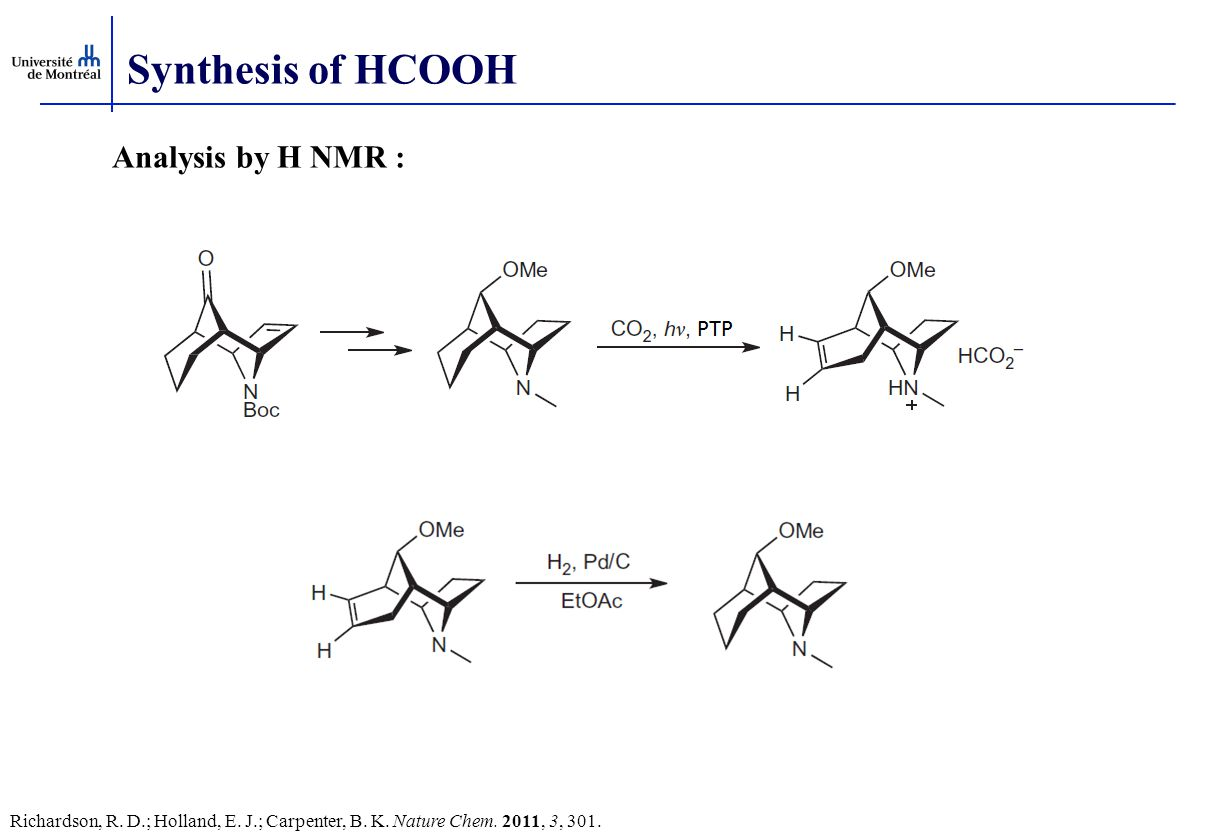 Synthesis of HCOOH Analysis by H NMR :