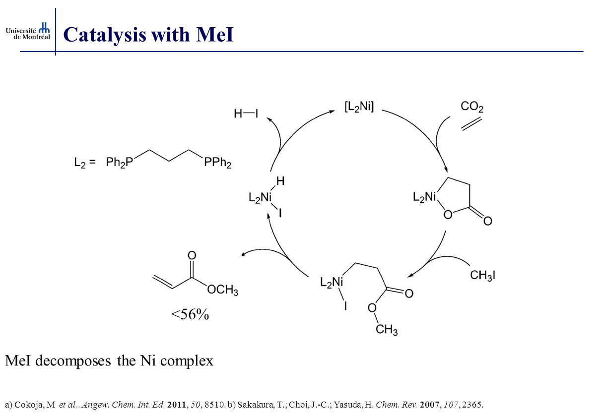 Catalysis with MeI <56% MeI decomposes the Ni complex