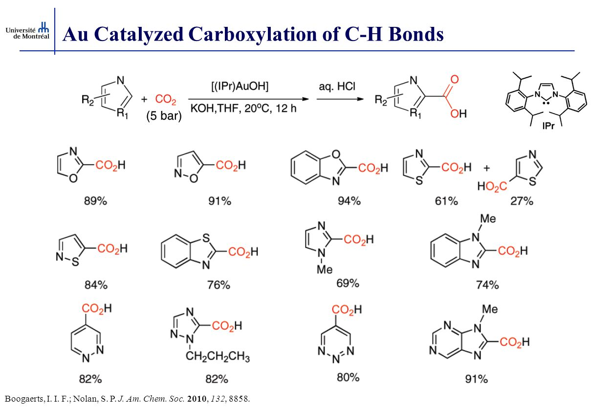 Au Catalyzed Carboxylation of C-H Bonds