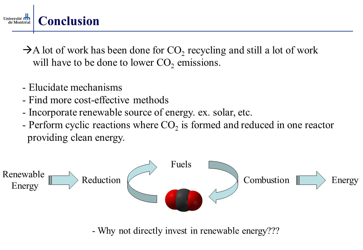 Conclusion A lot of work has been done for CO2 recycling and still a lot of work. will have to be done to lower CO2 emissions.