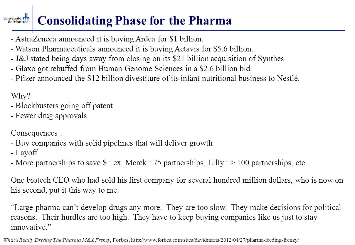 Consolidating Phase for the Pharma