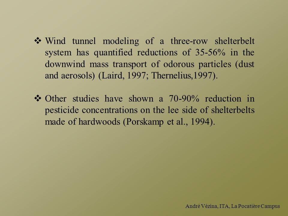 Wind tunnel modeling of a three-row shelterbelt system has quantified reductions of 35-56% in the downwind mass transport of odorous particles (dust and aerosols) (Laird, 1997; Thernelius,1997).