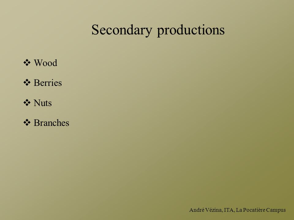 Secondary productions