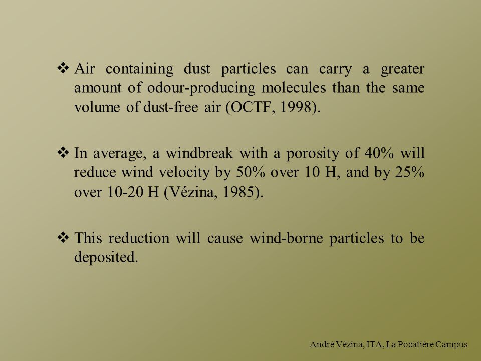 This reduction will cause wind-borne particles to be deposited.