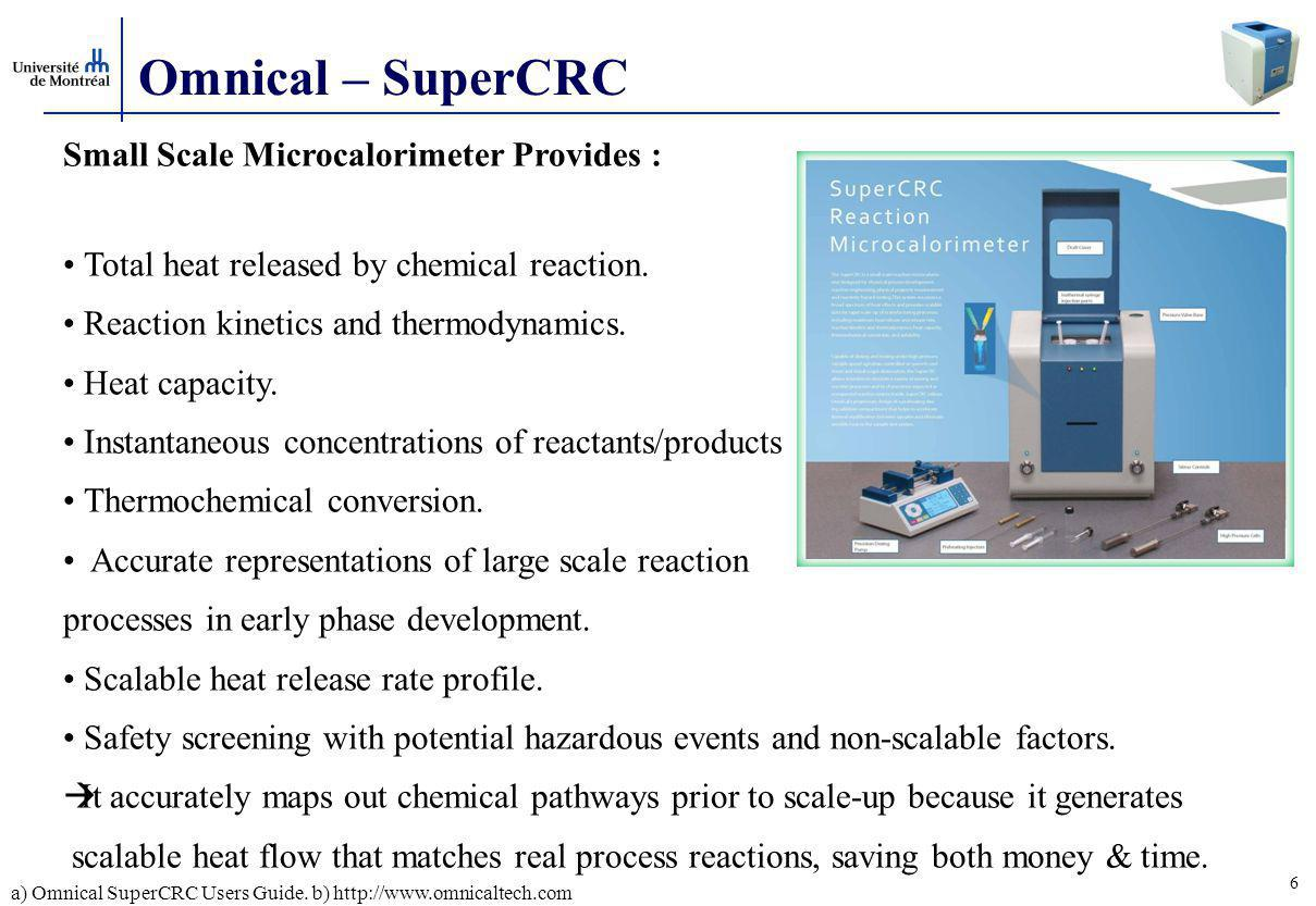 Omnical – SuperCRC Small Scale Microcalorimeter Provides :