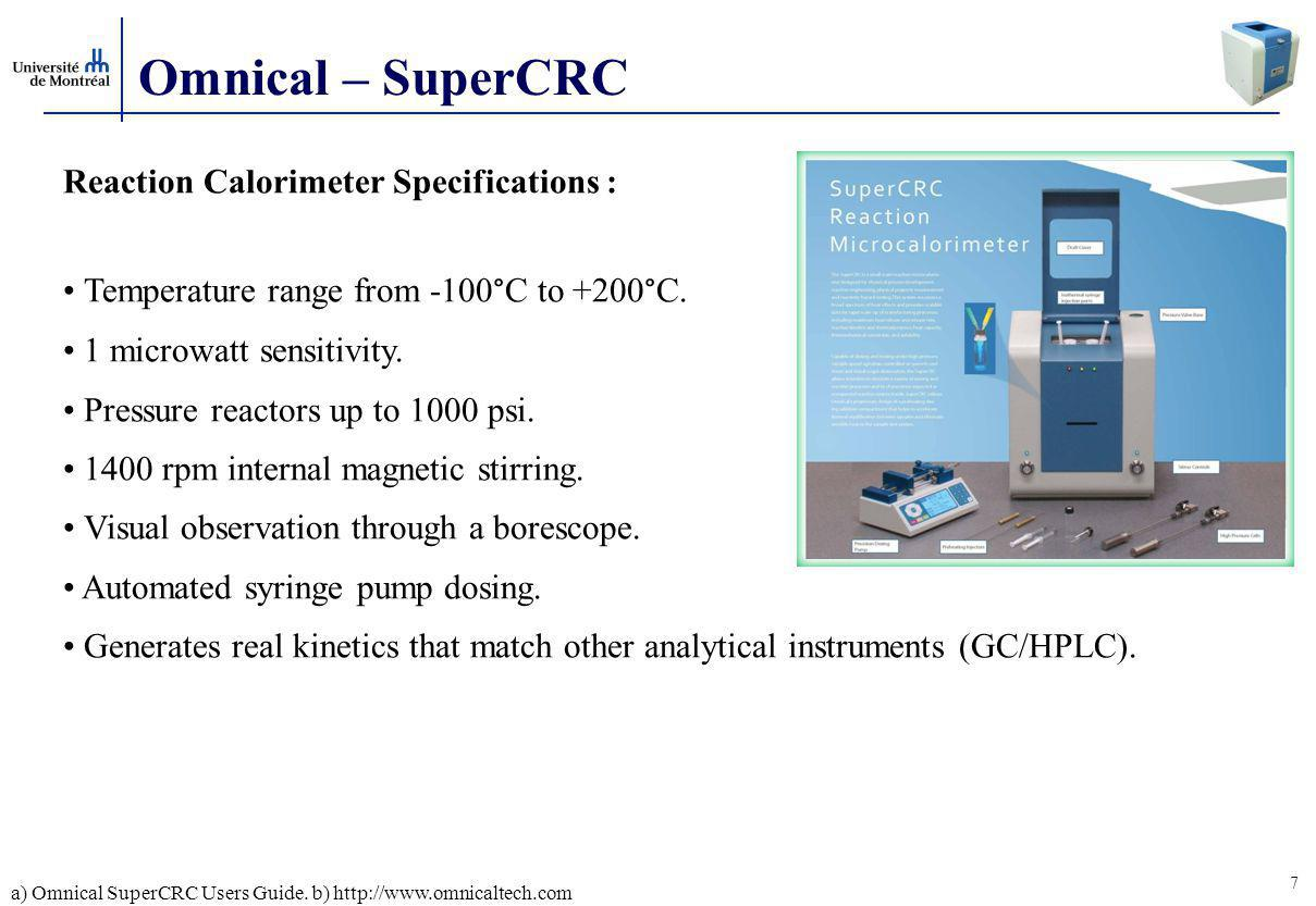 Omnical – SuperCRC Reaction Calorimeter Specifications :