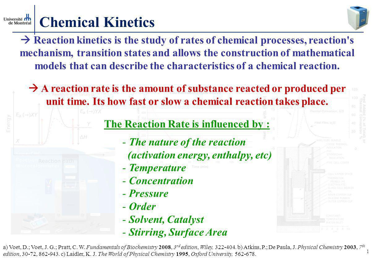 The Reaction Rate is influenced by :