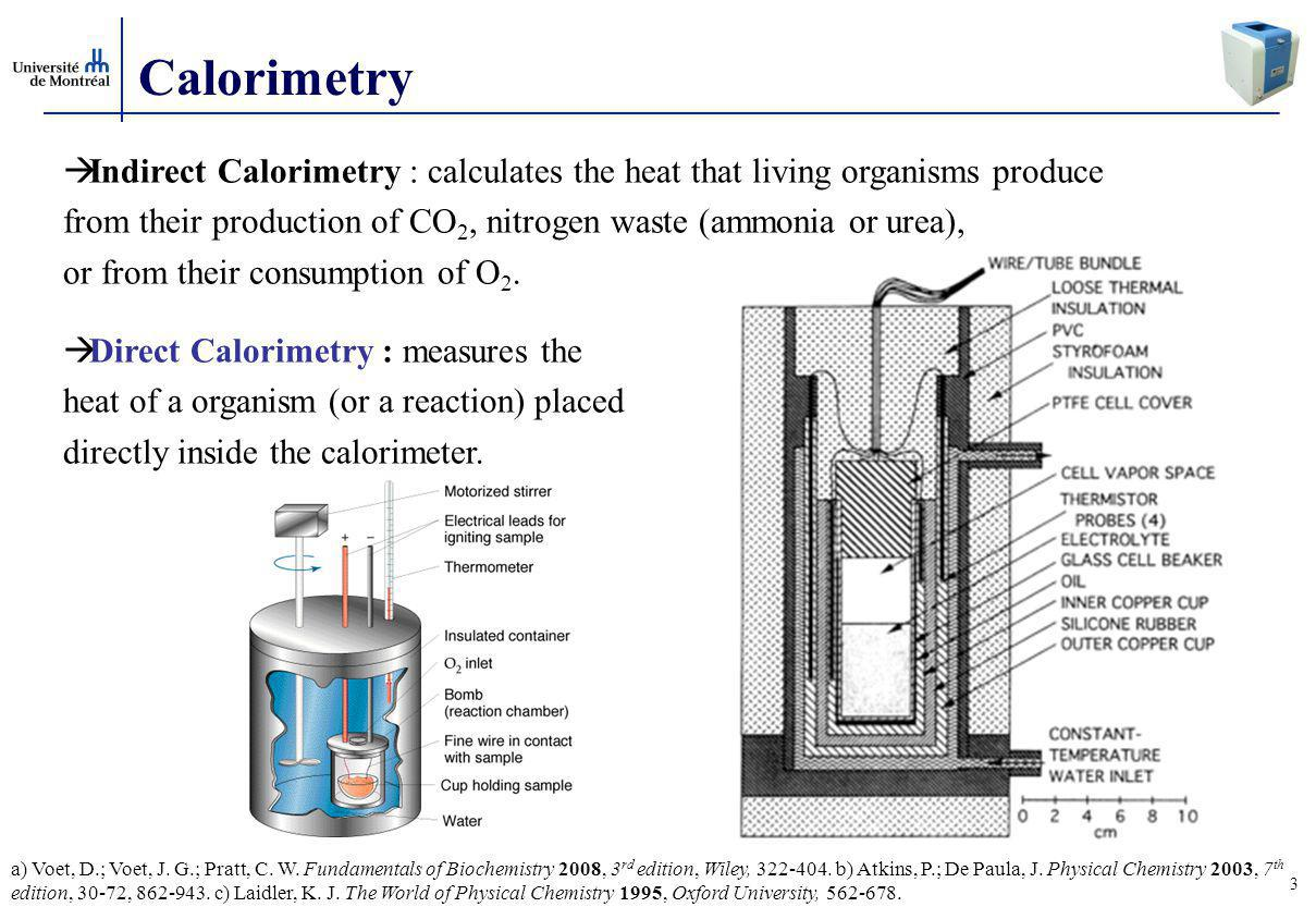 Calorimetry Indirect Calorimetry : calculates the heat that living organisms produce.