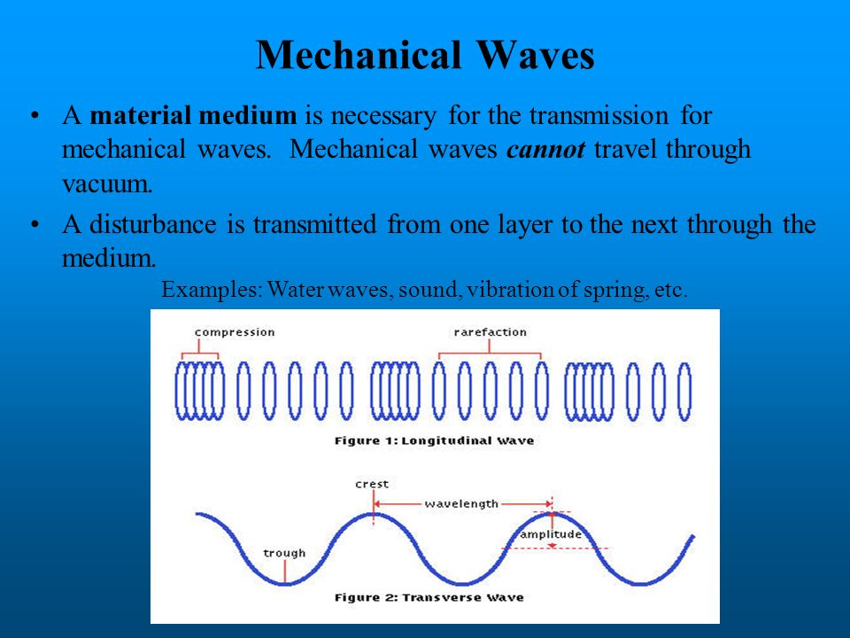 Mechanical Waves A material medium is necessary for the transmission for mechanical waves. Mechanical waves cannot travel through vacuum.
