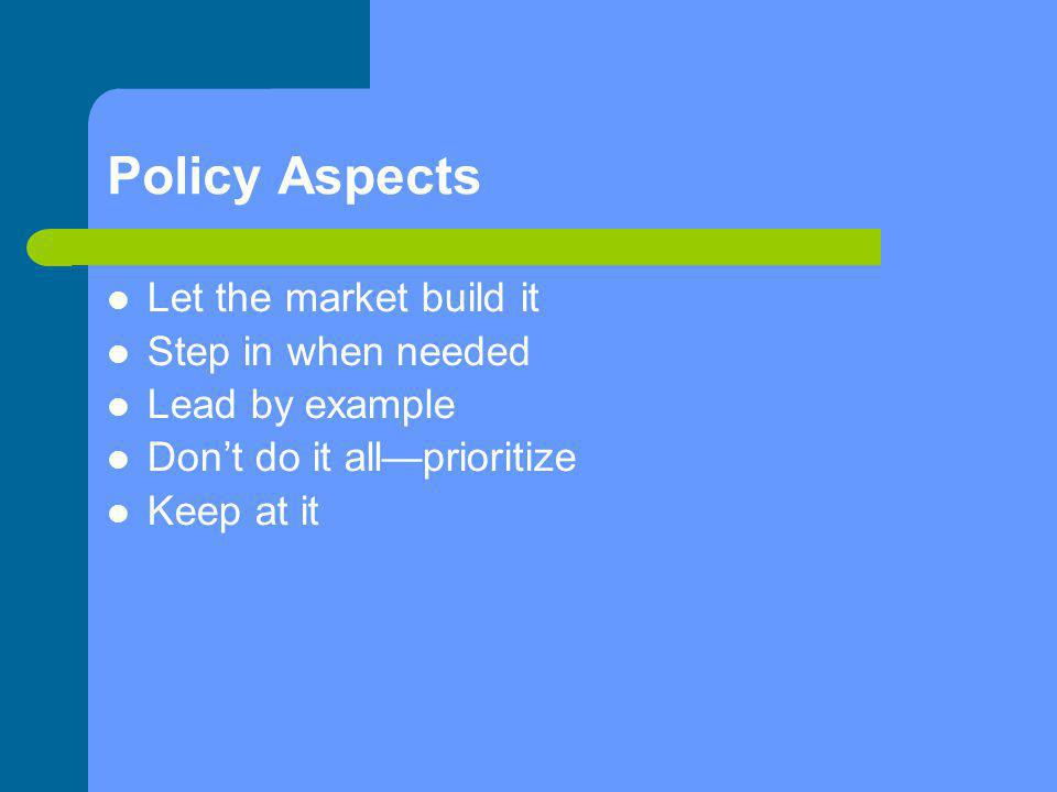 Policy Aspects Let the market build it Step in when needed