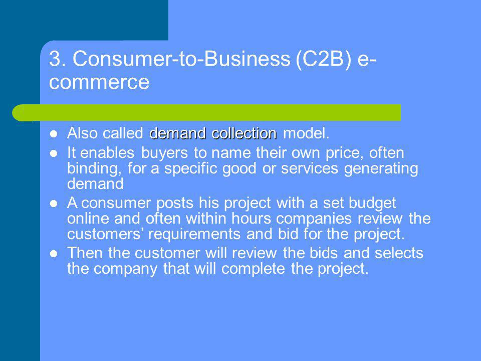 3. Consumer-to-Business (C2B) e-commerce