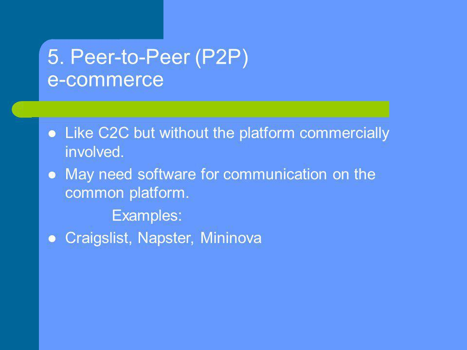 5. Peer-to-Peer (P2P) e-commerce