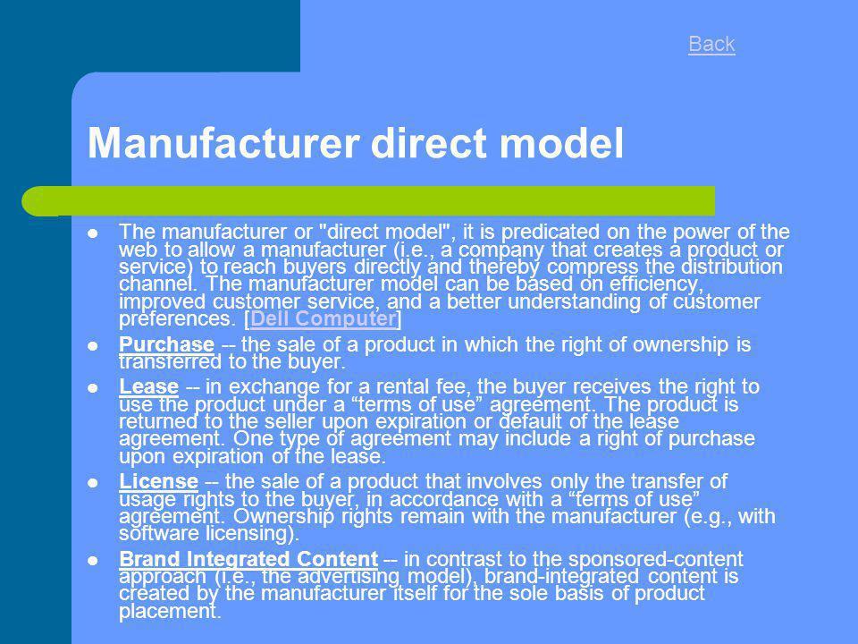 Manufacturer direct model