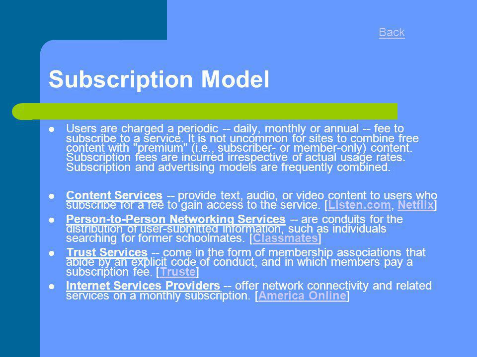 Subscription Model Back