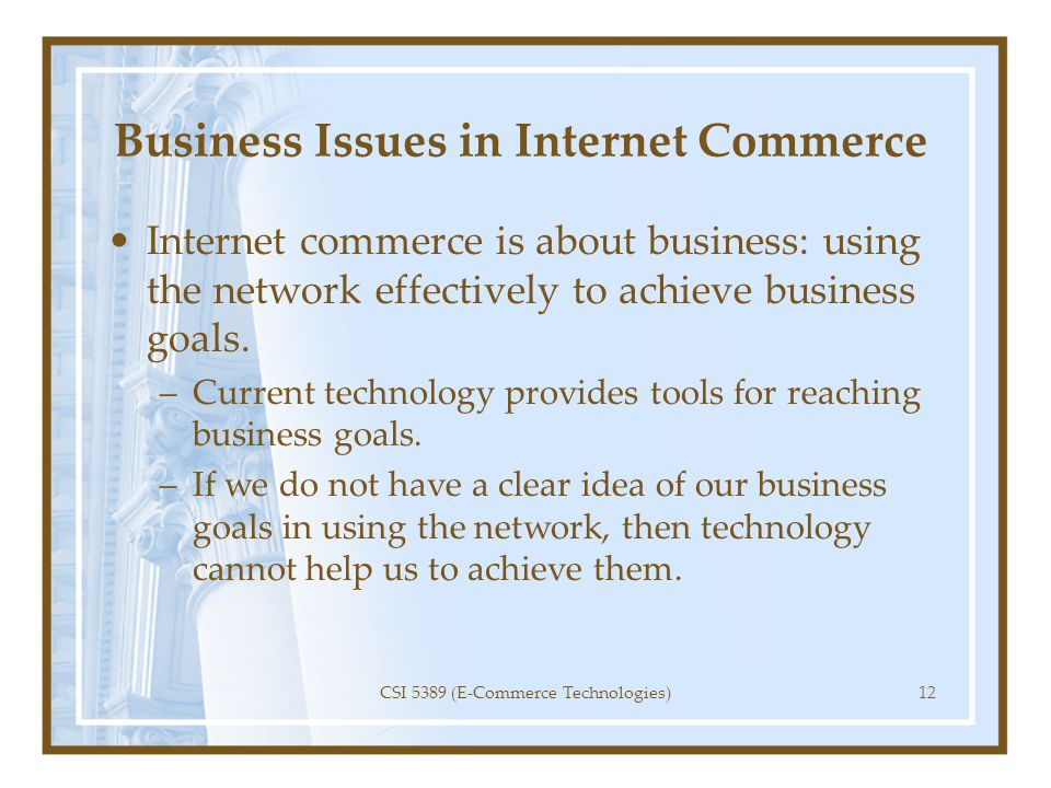 Business Issues in Internet Commerce
