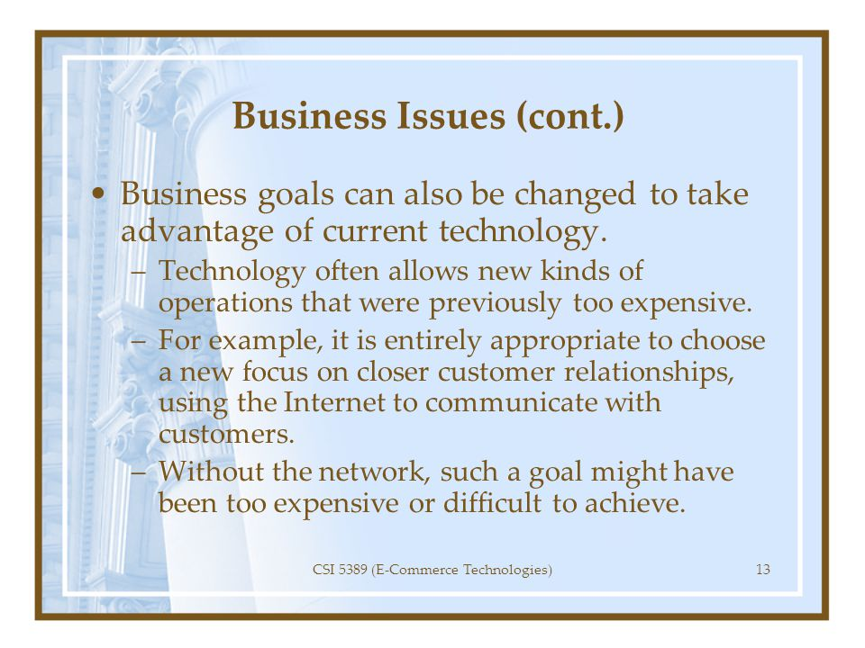 Business Issues (cont.)