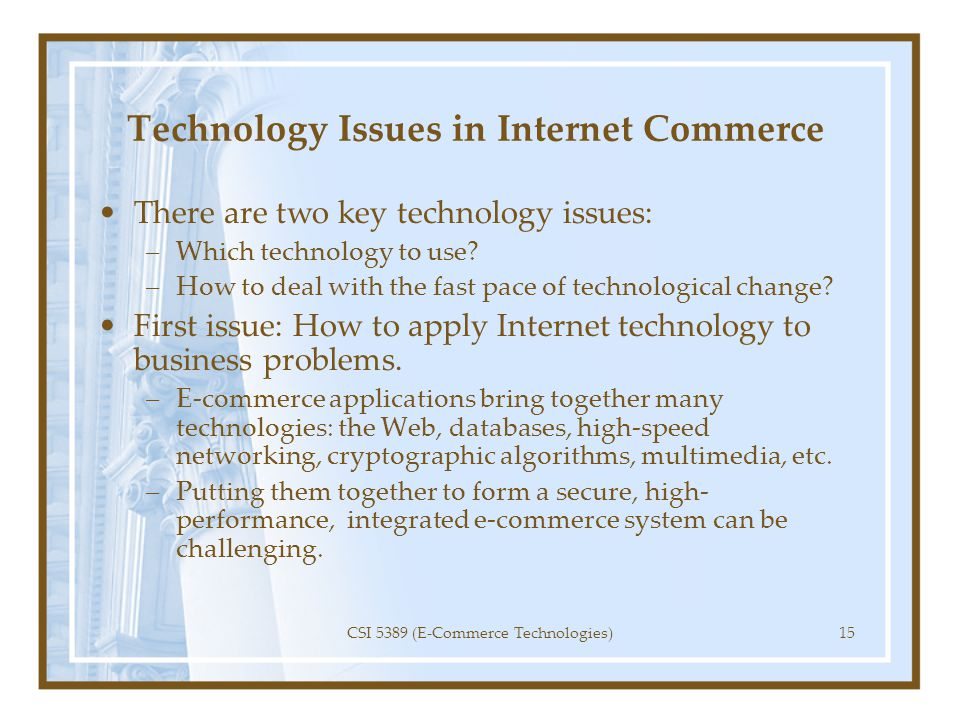 Technology Issues in Internet Commerce
