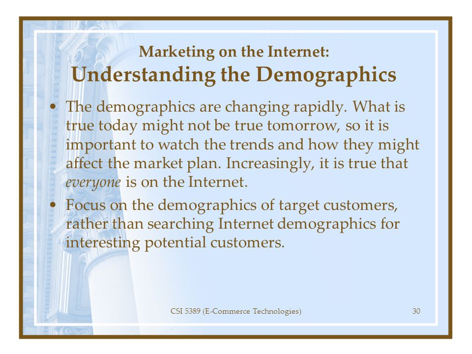 Marketing on the Internet: Understanding the Demographics