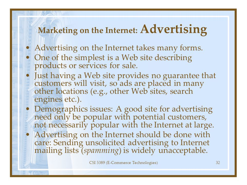 Marketing on the Internet: Advertising