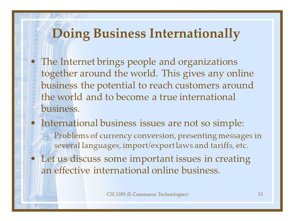 Doing Business Internationally