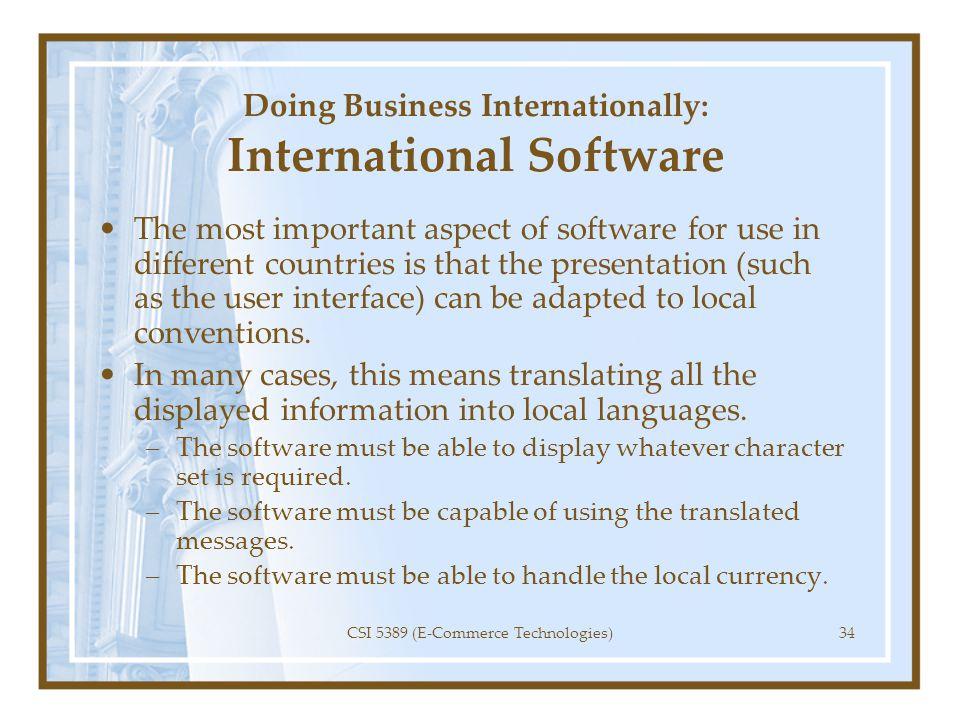 Doing Business Internationally: International Software