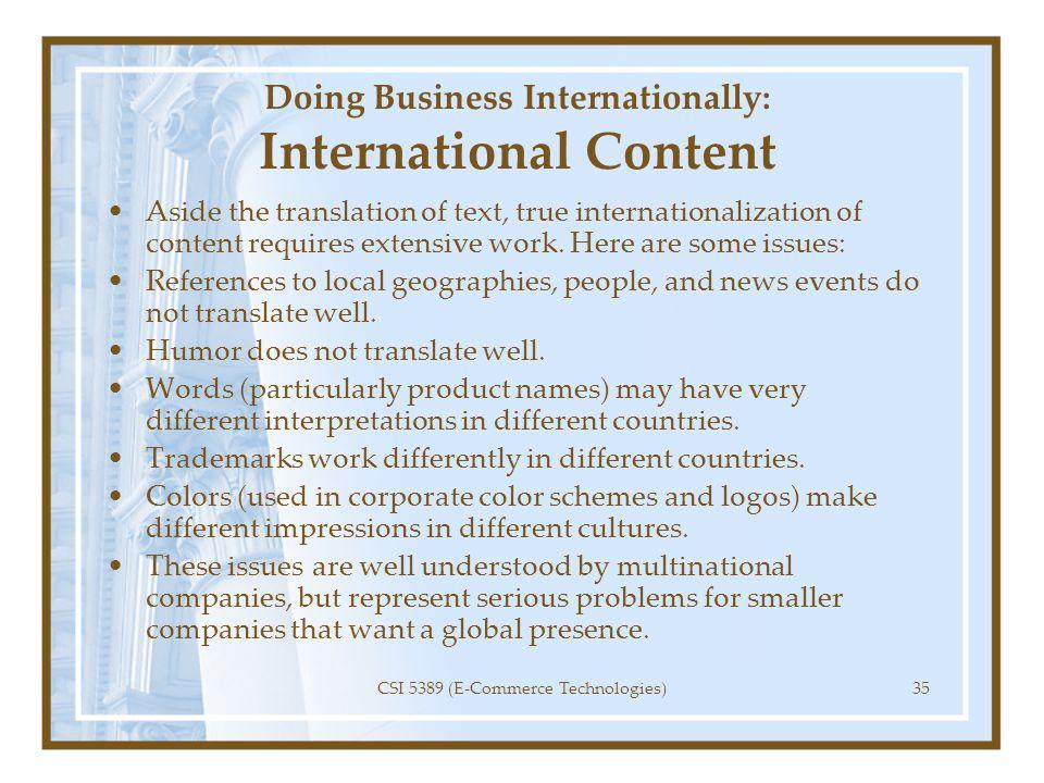 Doing Business Internationally: International Content