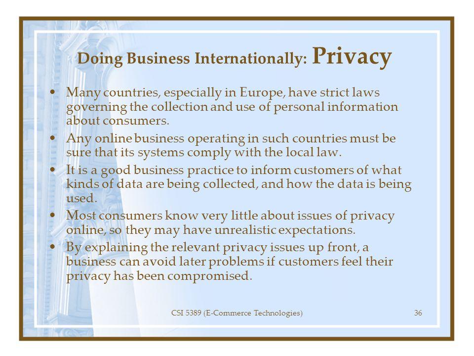 Doing Business Internationally: Privacy