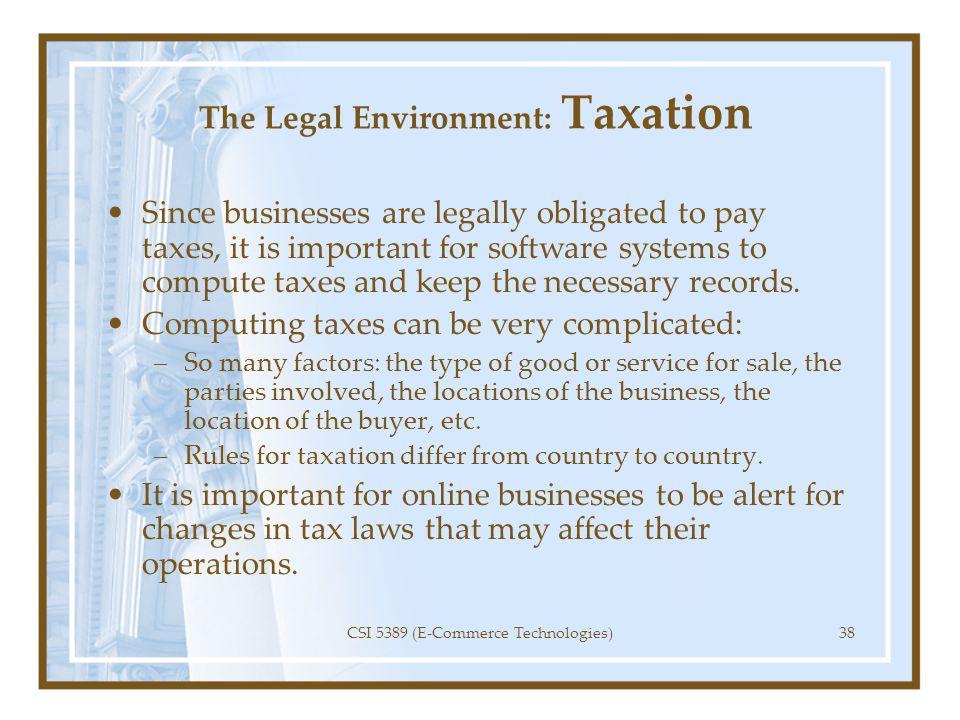 The Legal Environment: Taxation