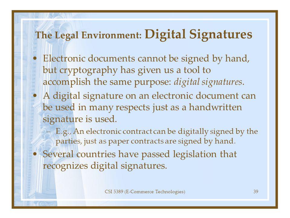 The Legal Environment: Digital Signatures