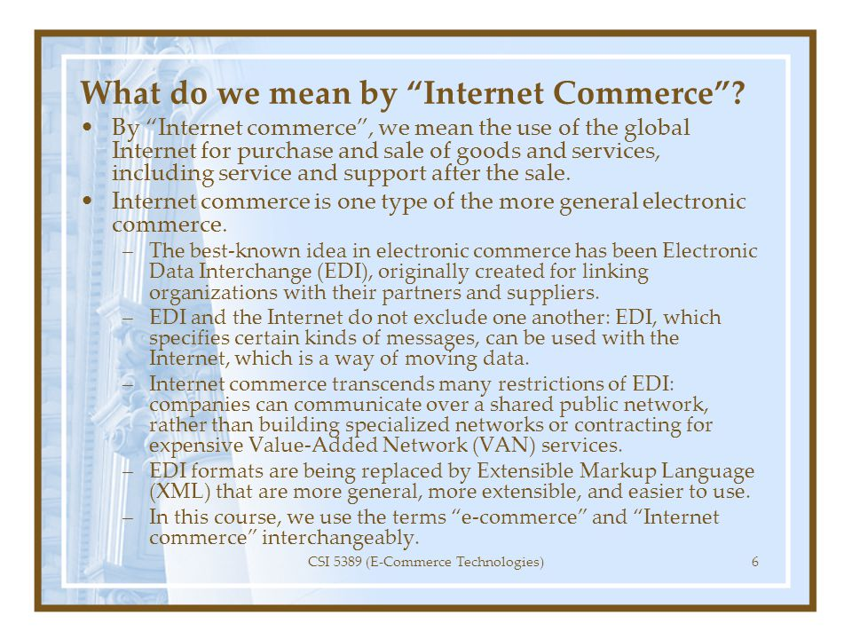 What do we mean by Internet Commerce