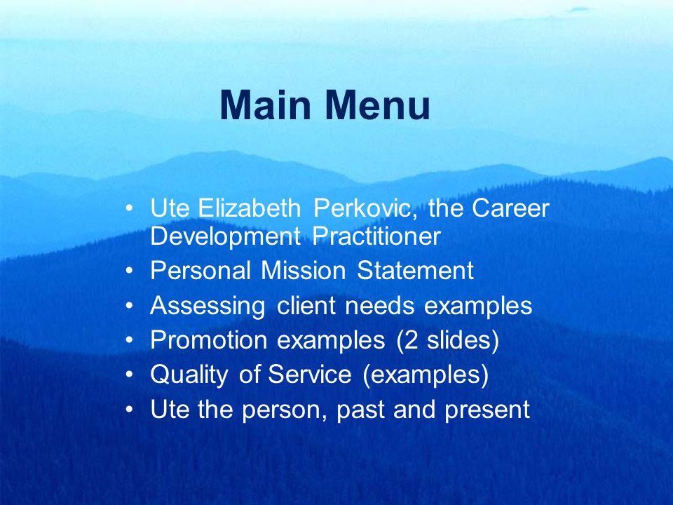 Main Menu Ute Elizabeth Perkovic, the Career Development Practitioner