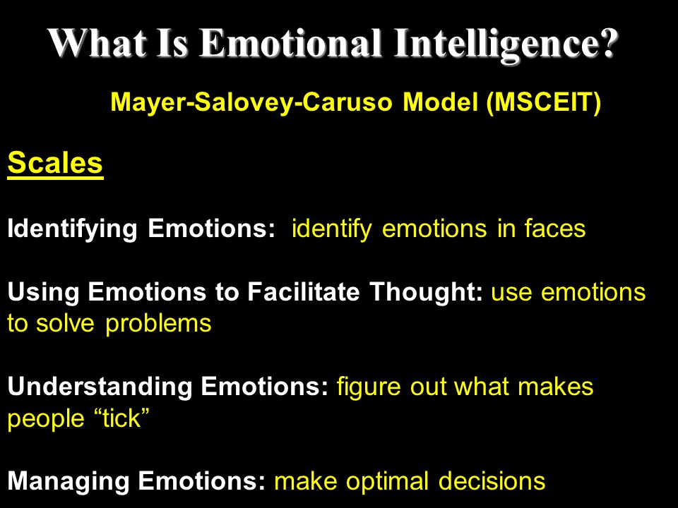 What Is Emotional Intelligence Mayer-Salovey-Caruso Model (MSCEIT)