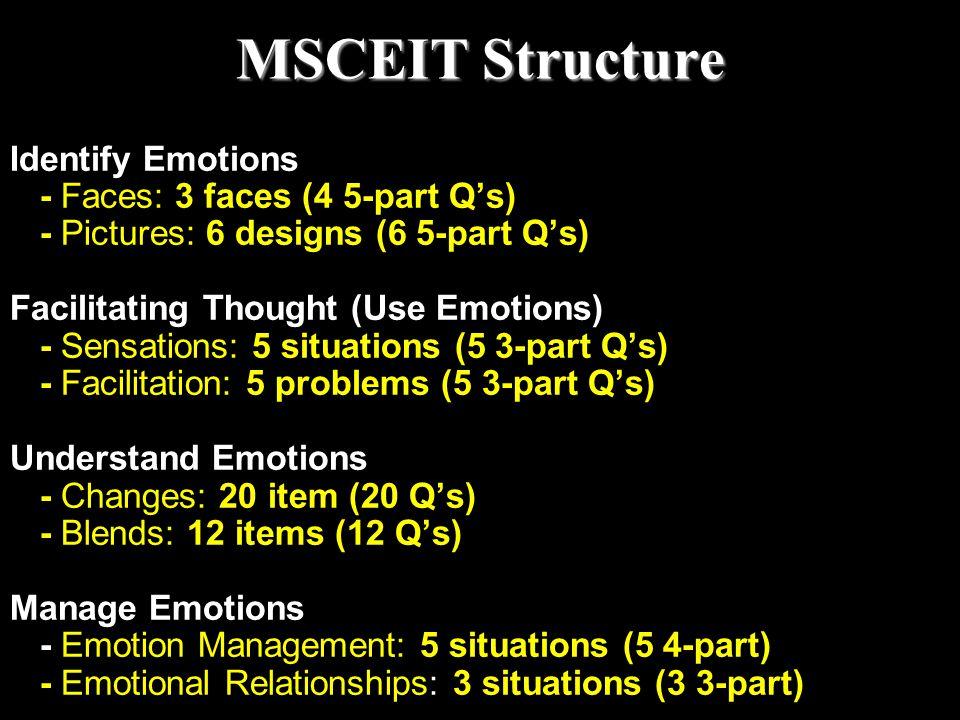 MSCEIT Structure Identify Emotions - Faces: 3 faces (4 5-part Q's)