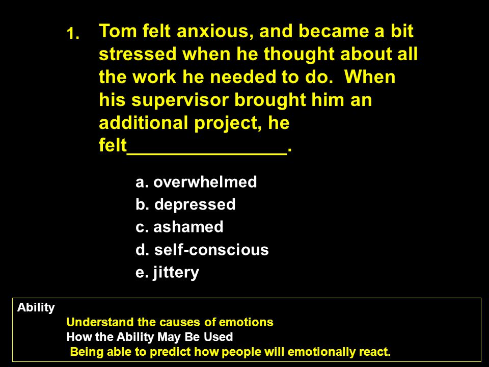 Tom felt anxious, and became a bit stressed when he thought about all the work he needed to do. When his supervisor brought him an additional project, he felt_______________.