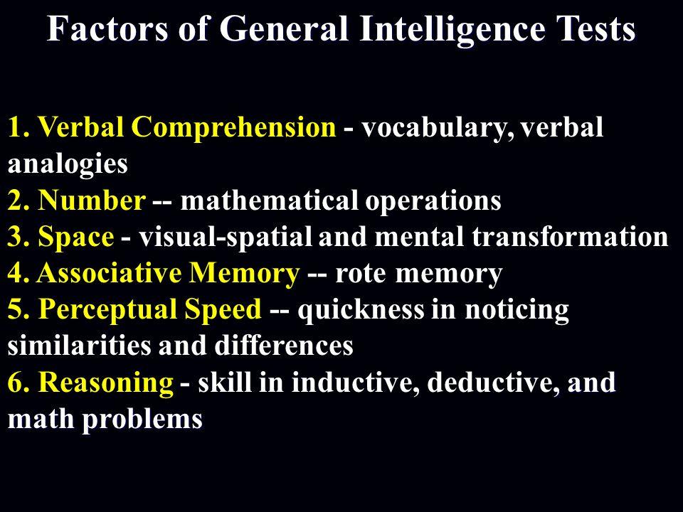 Factors of General Intelligence Tests