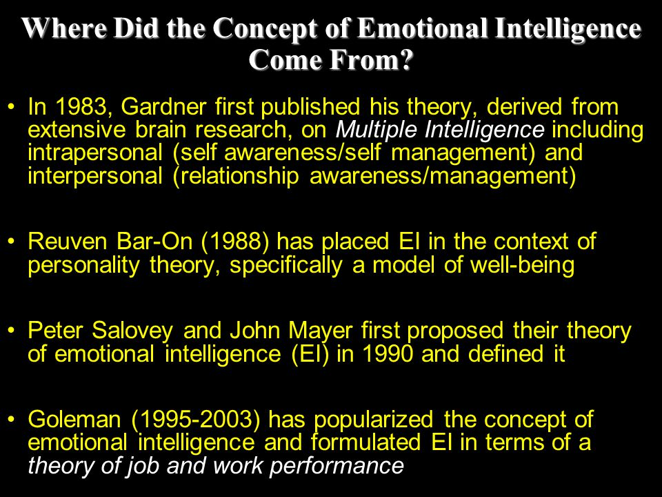 Where Did the Concept of Emotional Intelligence Come From
