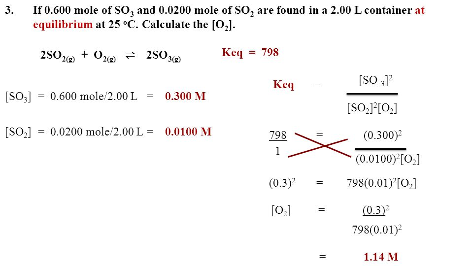3. If mole of SO3 and mole of SO2 are found in a 2