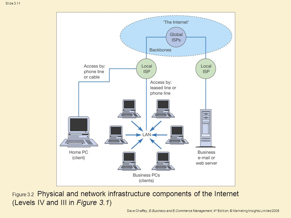 Figure 3.2 Physical and network infrastructure components of the Internet (Levels IV and III in Figure 3.1)